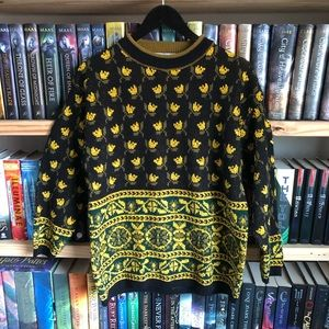 Vintage Carducci Yellow Floral Knit Sweater Size L